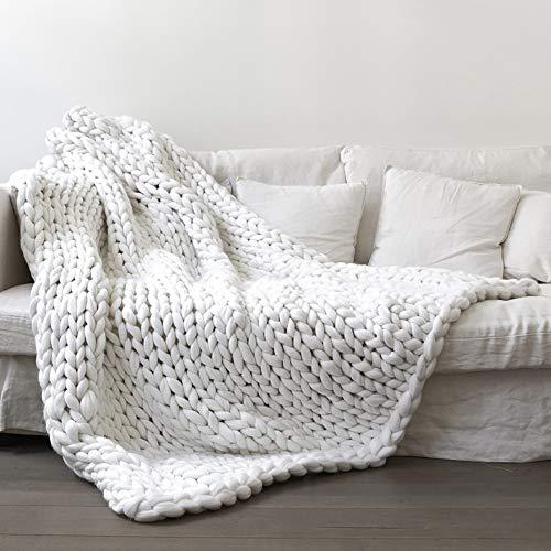 RAIN QUEEN Decke Handgefertigt Riese Klobig Sticken Werfen Sofa Decke Handgewebt Sperrig Decke Zuhause Dekor Geschenk(120*150CM, Weiß) (Dekor Weihnachten Decke)