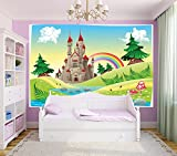 Bilderdepot24 Selbstklebende Fototapete - Kinderbild - Burg - Märchenschloss - 300x200 cm - Poster – Dekoration – Wandbild – Wandposter – Wand - Wanddeko