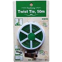OUNONA - Bridas de plástico con revestimiento de alambre para jardín, 50 m, color verde
