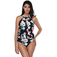 FeelinGirl Monokini Bikini Retro Badeanzug Einteiler Tankini Bademode  Badeanzug One Shoulder Swimwear Swimsuit 7a4d66476c