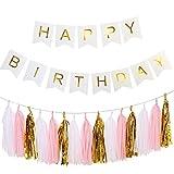 Ailiebhaus Happy Birthday Deko-Set Flaggenkette Banner,mit Quaste Girlande DIY Tassels(Gold + Weiß + Pink) (Weiß)