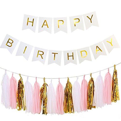 Ailiebhaus HAPPY BIRTHDAY Banderole Bannière Décorations d'anniversaire Guirlande + 15 Glands de Papier (Blanc) 7909792775062