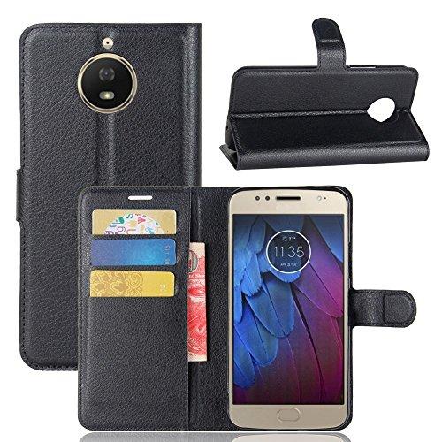 Guran® PU Ledertasche Case für Motorola Moto G5S Smartphone Flip Deckung Standfunktion und Karte Slot Telefonkasten Etui-schwarz