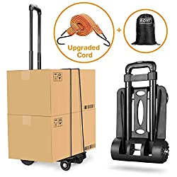 Folding Hand Truck, Wilbest 70 Kg/155 lbs Heavy Duty 4-Wheel Solid Construction Utility Cart Compact and Lightweight for Luggage, Personal, Travel, Auto, Moving and Office Use - Portable Fold Up Dolly