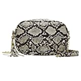 VADFLOD Snakeskin Barrel Bag Leder Reißverschlusstasche Metallkette Gurt Tasche mit Quaste Clutch Crossbody Umhängetasche, Khaki