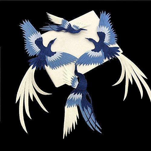 4Stück/Set Phoenix Bird bestickt Patch Nähen auf chinesischen Stil Eisen auf Patch Kleidung Applikation Kleidungsstück DIY Zubehör (blau + weiß) - Stil Kleidungsstück