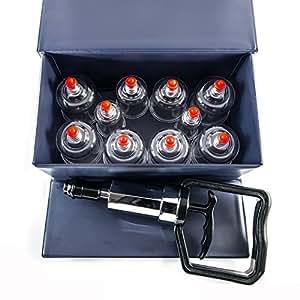 HANSOL Medica - Schroepfset 10 PZ - alta qualità Set a Coppettazione - Campana sottovuoto - Massaggio con coppette