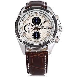 Leopard Shop MEGIR M2015 Men Quartz Watch Chronograph Date Display 30M Water Resistance Leather Strap Wristwatch Brown