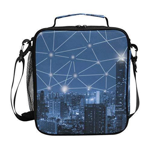 JSTEL Lunchtasche 3D Blau Ton City Handtasche Lunchbox Food Container Gourmet Bento Coole Tote Kühltasche Warm Tasche für Reisen Picknick Schule Büro - Zwei-ton-reißverschluss Tote