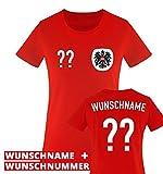 TRIKOT - AT - WUNSCHDRUCK - Damen T-Shirt - Rot / Weiss-Schwarz Gr. XS