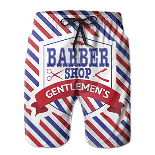 Ye Hua Vintage Emblem of Barber Shop Bañador para Hombre Shorts de Playa de Secado rápido con Bolsillos...