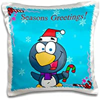Christmas - Penguin Wearing Santa Hat And Candy Cane Background - 16x16 inch Pillow Case
