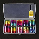 Gaddrt il Art Transfer Foil 10 Colors Sticker For Nail Tip Decoration & Star Glue Set (C)