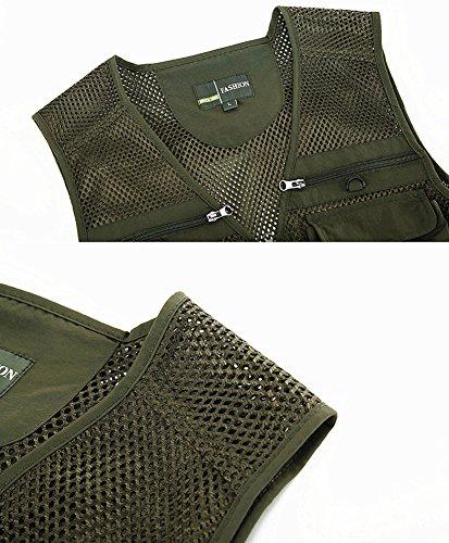 Mochoose Multi-Poche Veste de Gilet Chasse/Pêche/Photographie/Travail à Séchage Rapide Fly Fishing Homme Armée Verte