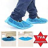 Lot de 1000 Sur-chaussures jetables taille unique antidérapante : Couvre chaussures, chausson jetables gaufrées Couleur bleu qualité médicale