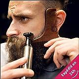 Peigne Contours & Lignes de Barbe - Baristaweb  Qualité Prémium en Bois - Sac OFFERT - Pour hommes modernes & tendances voulant entretenir et donner du style à leur barbe !