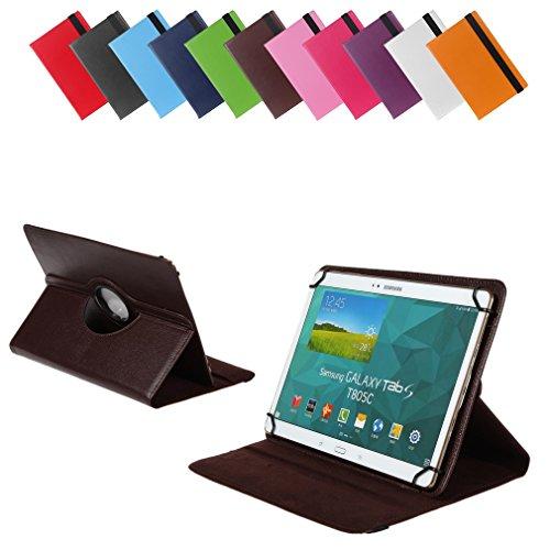 Universal Rotation-Tasche für verschiedene Tablet Modelle (9 / 10 / 10.1 Zoll, Braun) Größe Schutz Case Hülle Cover, 360° drehbar, vertikal und horizontal aufstellbar, mit Gummibandverschluss
