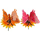 #8: Wonderland , Set of 2 ,Plastic Butterfly with Yellow Flower Stake and butterfly in orange and pink colors