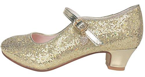 La Senorita Anna Frozen Prinzessinnen Schuhe Gold mit kleines Herzchen Spanische Flamenco Schuhe (Größe 33 - Innenmaß 21,5 cm)
