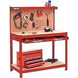 Clarke CWB-R1B - Banco da lavoro con pannello posteriore forato e cassetto grande, colore: rosso