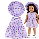 Wokee Puppen Kostüme Kleid,Kleidung Puppenkleidung Babypuppen 5 Farben mit hat,Blumenkleid, schön elegant für 18 Zoll American Girl (Rot)