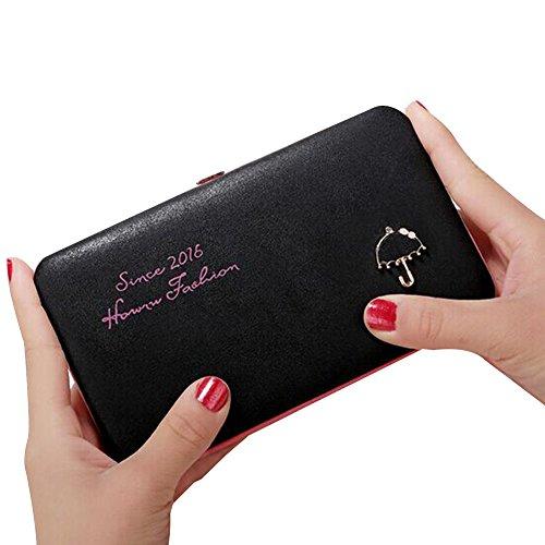 Zantec Handtaschen fuer Frauen Dame harte lederne Mappen Geldbeutel lange Telefon Beutel Karten Halter (Nylon-einkaufstasche Check)