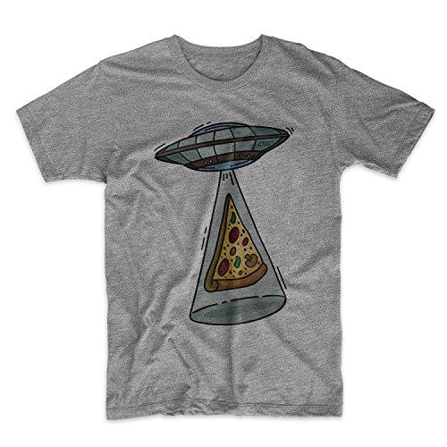 Alien UFO Pizza Komisch Sarcastic Herren T-Shirt Grau
