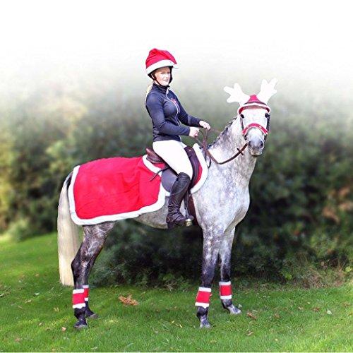 QHP Ausreitdecke Fleece für Ihr Weihnachts-Outfit Fleece rot, weißer Plüschrand (S)