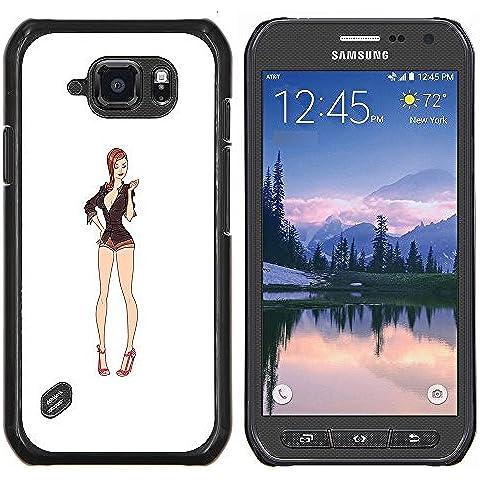 Cubierta protectora del caso de Shell Plástico || Samsung Galaxy S6 Active G890A || piernas sexy blanco nena escote pin up @XPTECH