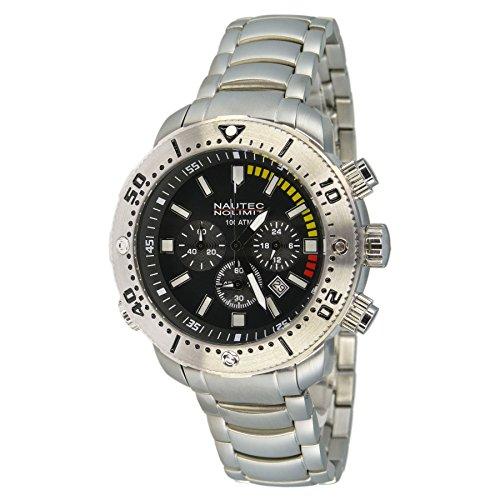 Nautec No Limit - UO2 QZ/RBSTSTBK - Montre Homme - Quartz Chronographe - Chronomètre - Bracelet Acier Noir