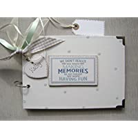 PERSONALISED A5 SIZE PHOTO ALBUM, SCRAPBOOK, MEMORY, GUEST BOOK, MULTI USE GIFT.MAKING MEMORIES. 21CM X 15CM