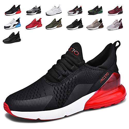smarten Sportschuhe Herren Damen Laufschuhe Luftkissen Schuhe Turnschuhe Fitness Gym Leichtes Bequem Sommer Trekking Sneakers BlackRed 44 EU