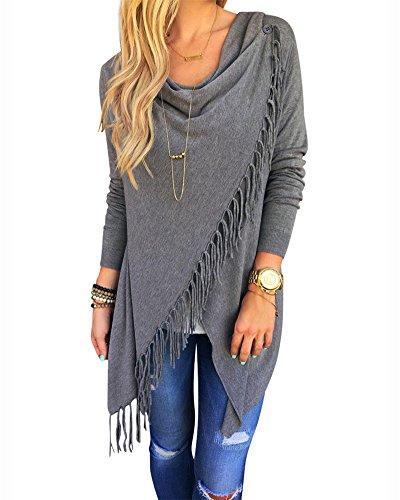 Damen Langarm Cardigan Tops Dünne Quasten Asymmetrisch Sweatshirt Pullover Strickjacken Grau S