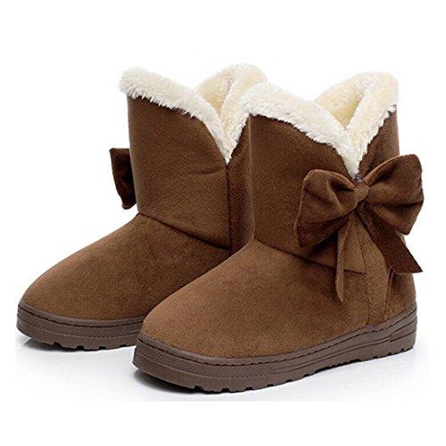 Minetom Bottes De Neige Femme Bowtie Boots Fur Inside Antidérapage Casual Flats Talon Pour Hiver Café