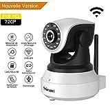 [Nouvelle Version] Caméra IP wifi 720p, U-Kiss Caméra de Surveillance Sans fil - Résolution HD 1280 *720P- Lentilles rotatives - Audio bidirectionnel - Vision Nocturne - Détecteur de Mouvement