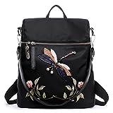 Damen Rucksack Elegant Vintage stickerei Rucksack Damentasche Damen Daypack Backpacks Casual Wasserdichte Reise (Schwarz2)