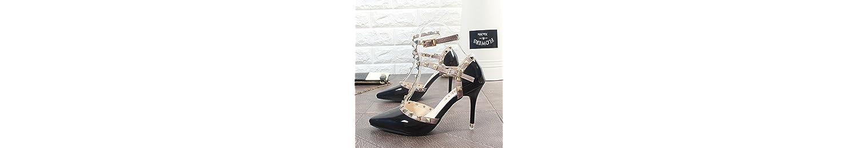 ZHANGJIA Nude Zapatos de Tacon Alto, Zapatos de Mujer de Moda,Treinta y Siete,Black -