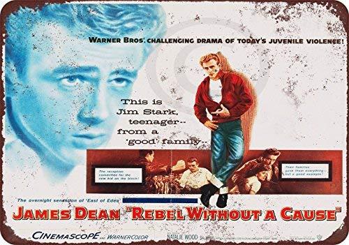 qidushop 1955 James Dean Rebel Without A Cause Reproduktion, Aluminium, Blechschild, Wanddekoration für Herren, 20 x 30 cm