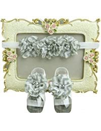 NeedyBee Headband With Flower Bunch And Barefoot Sandal Combo for Babies (Gray & White)