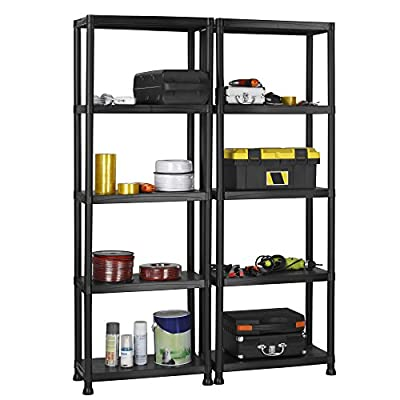 VonHaus Pack of Two 5 Tier Plastic Shelving Utility Unit Shed Garage Storage Freestanding Shelves System - 250Kg Capacity - 25Kg Per Shelf - Ideal Office, Garden, Studio, Workshop - 172.5 x 122 x 30.5cm - Wall Braces - cheap UK light store.