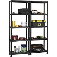 VonHaus Pack Of Two 5 Tier Plastic Shelving Utility Unit Shed Garage  Storage Freestanding Shelves System