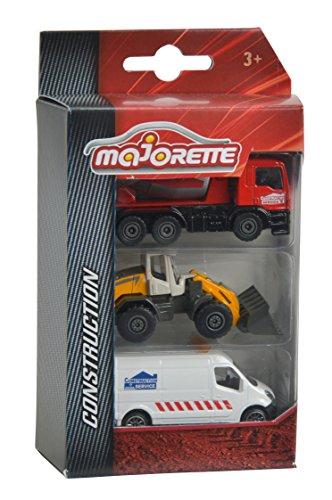 Majorette 212057341-Construction 3Pieces Set, Set avec Trois véhicules, 7,5cm, Assortis