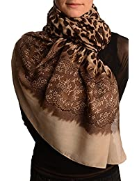 Leopard With Gold Glitter & Beige Lace Print - Brown Animal Scarf