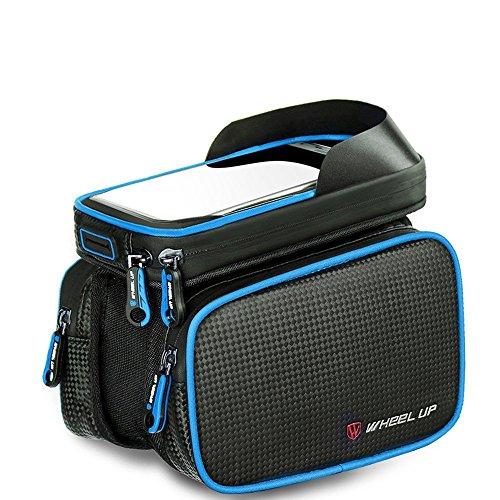 LJ Sport Fahrrad Rahmen Tasche Fahrrad vorne für Smart Phone Halter Spritzwassergeschützte Fahrrad Tasche für Handy Mount innerhalb 15,2 cm Top Tube Bag (Blau) (Top-handys)