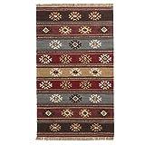 The Indian Arts Zanskar (Indischen Kelim Teppich grau rot beige Farben 80% Wolle 20% Baumwolle 75x 120cm