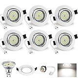 Spot LED Encastrable Blanc 6W Wowatt 6 Spots Encastrables GU10 Blanc Froid 6000K...