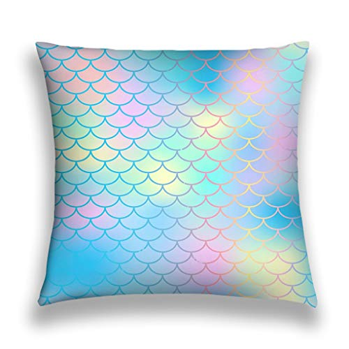 zexuandiy Kissenbezüge Pillow Covers Decorative 18x18 in Pillowcase Cushion Covers Zipper Magic Mermaid Tail Background Colorful Fish Scale net Blue pink Mermaid Skin Surface Texture