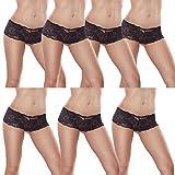 L&K-II 7er Pack Damen Panties Hipster mit verführerischen Spitzendetails MDU3409 Schwarz Gr. 40