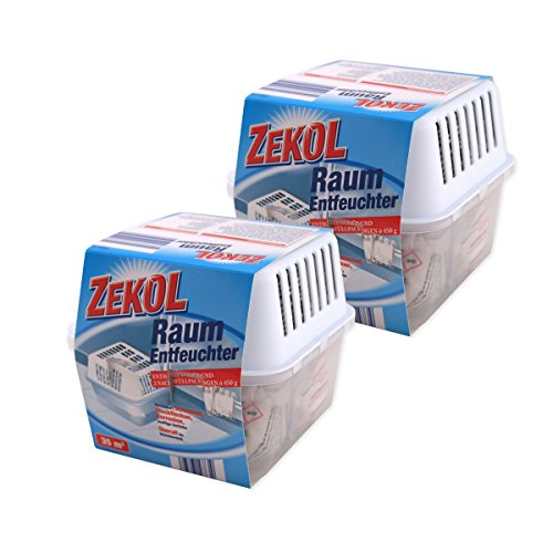2 x Kompakter Raumentfeuchter Set - 2 Boxen + 4 x 450 g Luftentfeuchter Granulat