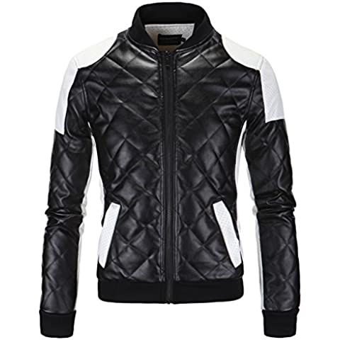 BELLA-Jacket Giacca Moto Guida Uomo di PU Pelle Cappotto Manica